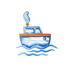 Watercolor ship floating in the sea vector
