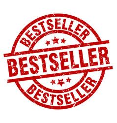 bestseller round red grunge stamp vector image vector image