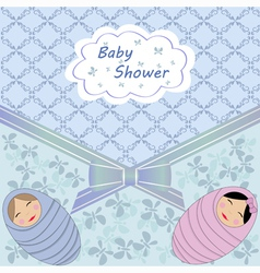 Blue baby shower with two child vector image