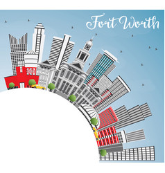 fort worth usa skyline with gray buildings blue vector image