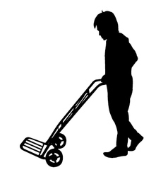 Silhouette of man with Hand Trolley vector image vector image