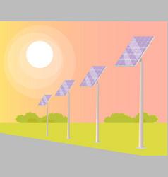 solar panels turned to shining sun along road vector image