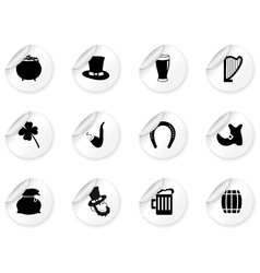 stickers with st patricks day icons vector image
