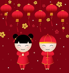 Chinese Girl-Boy Greetings card vector image vector image