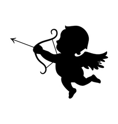 Cupid black silhouette Valentines day symbol vector image vector image