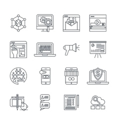 Digital marketing linear icons set vector