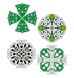 Green and white knotted celtic crosses vector image