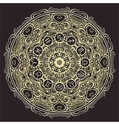 mandala and zodiac circle with horoscope signs vector image