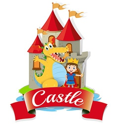 Prince and dragon at the castle vector image vector image