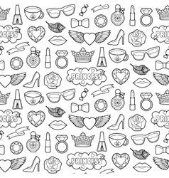 Princess Fashion Patches Seamless Pattern vector image vector image