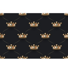 Seamless gold pattern with king crown with diamond vector image vector image