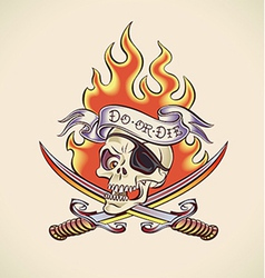 Skull of Pirate - tattoo design vector image