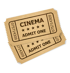 two retro cinema tickets of designer on a white vector image vector image