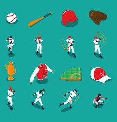 baseball isometric icons set vector image vector image