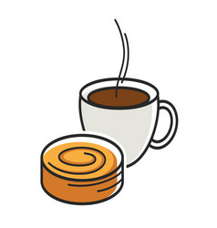 Cup of coffe with steam and sweet tasty bun vector