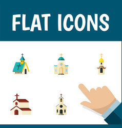 flat icon building set of structure building vector image vector image