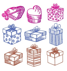 handdrawn set of gift boxes vector image