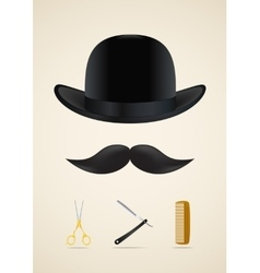 Moustache style icons set vector image vector image
