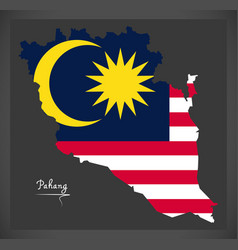 Pahang malaysia map with malaysian national flag vector