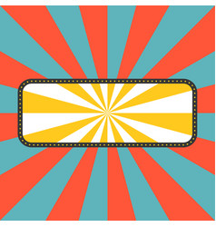 sun rays with frame in retro style vector image