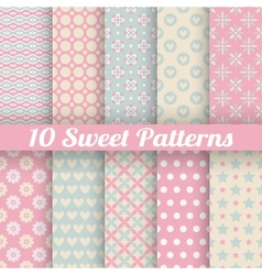 10 Sweet cute seamless patterns tiling vector image