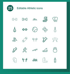 25 athletic icons vector