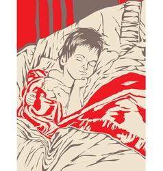 A little boy sleeping in bed vector