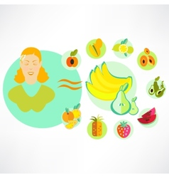 A set of fruit icons vector image