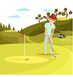 Aged concentrated man shooting golf ball to hole vector