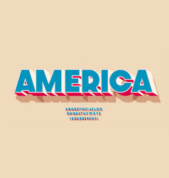 america font 3d color style vector image