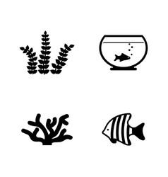 aquarium inhabitants simple related icons vector image