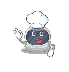 Astronaut helmet chef cartoon wearing white hat vector