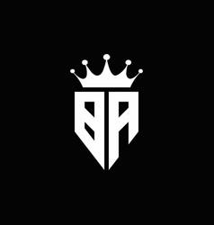 ba logo monogram emblem style with crown shape vector image