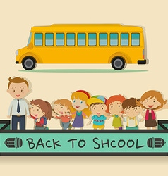Back to school theme with students and teacher vector image
