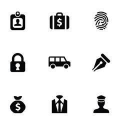 Bank 9 icons set vector