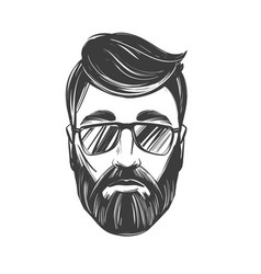 bearded man barbershop hairstyle haircut hand vector image