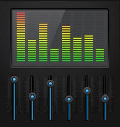 black digital equalizer with blue slider buttons vector image