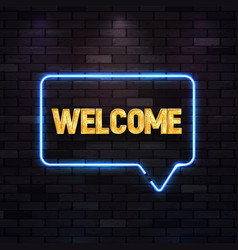 Blue neon sign with welcome golden text on vector