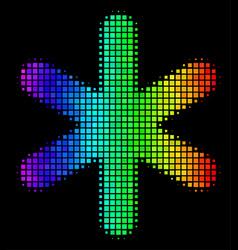 Bright pixel snowflake icon vector