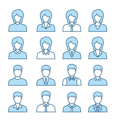 Businessman and businesswoman icon set vector