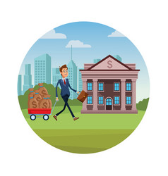 Businessman pulling a wagon vector