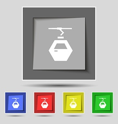 Cableway cabin icon sign on original five colored vector