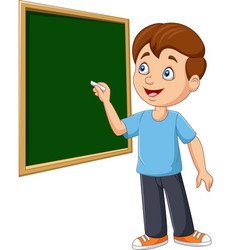 cartoon schoolboy writing on blackboard vector image