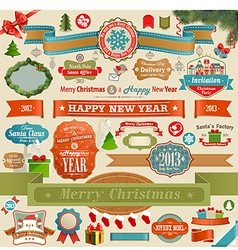 christmas ribbons and objects vector image