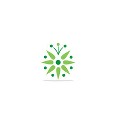 circle flower green eco logo vector image