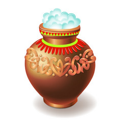 Clay pot filled with rice isolated on white vector