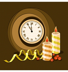 clock and candles vector image vector image