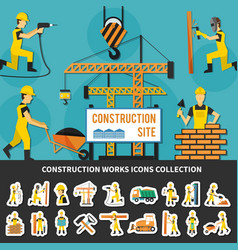 Construction worker flat composition vector