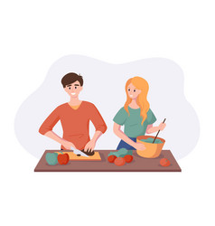 Cooking healthy dinner together vegetables and vector