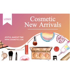 Cosmetic social media design with brush vector